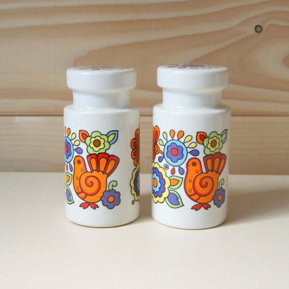 Retro 60s bright and bold Lord Nelson pottery Gaytime salt and pepper shakers