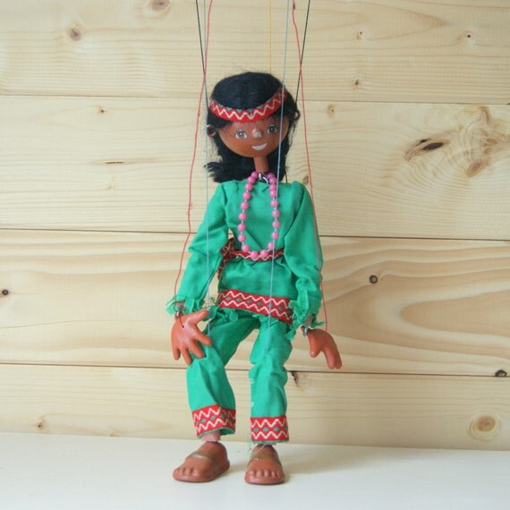 Pelham Puppet Indian Girl Character wooden vintage toy