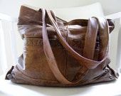 Upcycled brown/cognac leather tote