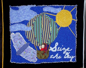 """Modern Rag Story Quilt  wall hanging or lap quilt  """"Seize the Day"""""""