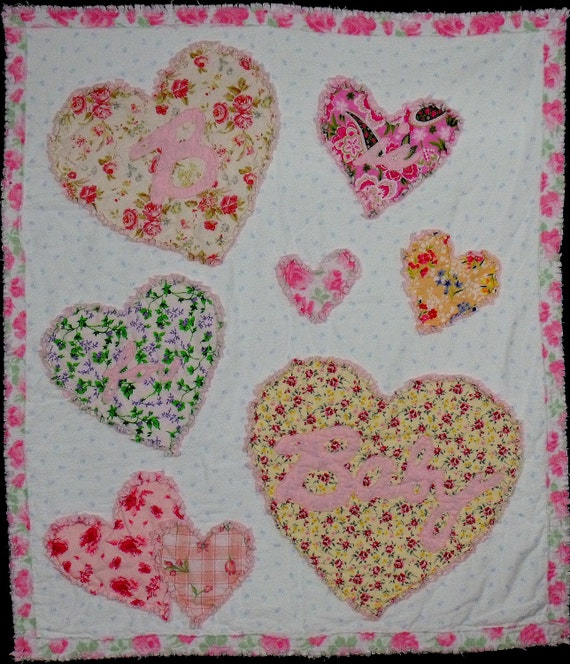 """Baby Girl Rag Quilt so soft hearts """"B is For Baby"""""""