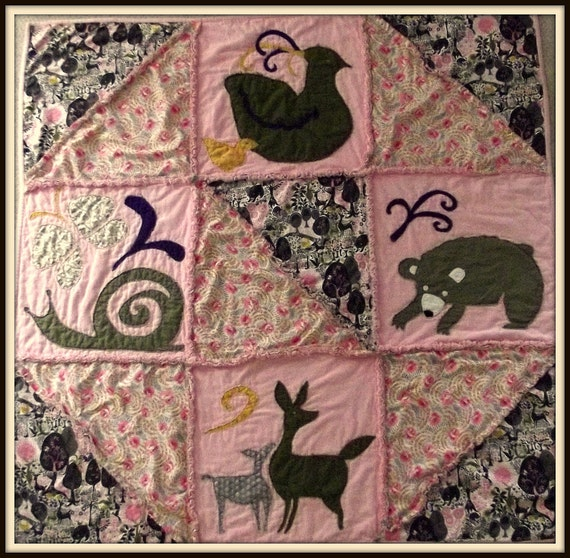 woodland rag quilt, baby rag quilt, nature rag quilt, modern rag quilt, rag quilt  unusual rag quilt