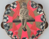 OH, Isn't It GRAND, Mixed media original on vintage tambourine