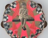 OH, Isn't It GRAND, Mixed media original on vintage tambourine