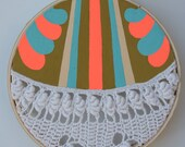 SALE . . . Not your GRANDMA's DOILY, painting on vintage crocheted doily