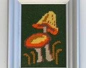 MUSHROOM vintage needlepoint in yellow orange and green in metallic frame
