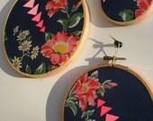 SALE-Sweet Simplicity Trio, Altered Vintage Hankie, Neon Gouache Painting, Embroidery Hoop