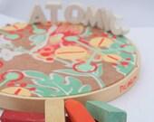 SALE-Atomic Floral, altered vintage textile, painting acrylic gouache original