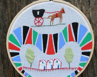 SALE . . . Shall we go to Town Today, painting on vintage embroidered tea towel