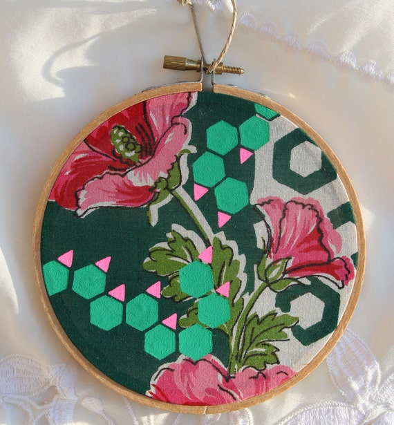 SALE-FLORAL HEX painting on vintage textile, altered acrylic gouache art
