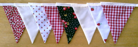 Strawberries and Cream Fabric Bunting - READY TO DISPATCH