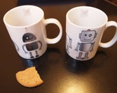 Robot mug / cup 'Production Line' (1 only - Light square headed robot)