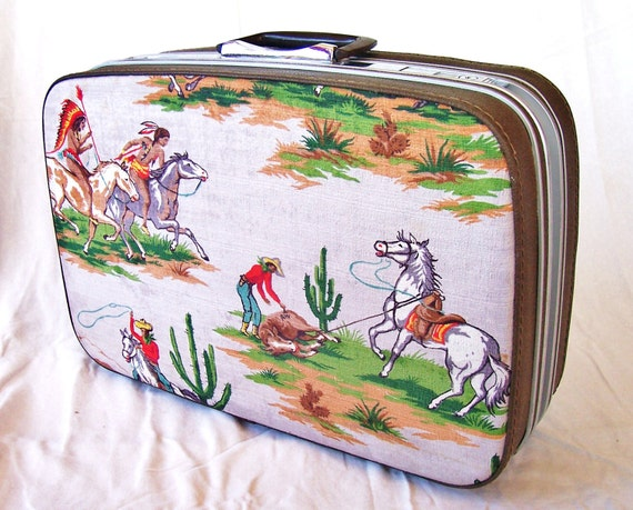 vintage upcycled suitcase, retro cowboy and indians fabric,  samsonite