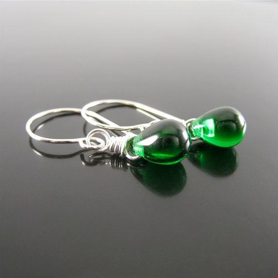 May Birthstone Earrings - Emerald - Czech Glass and Sterling Silver