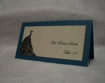 Printed Peacock Wedding Escort Cards or Place Cards