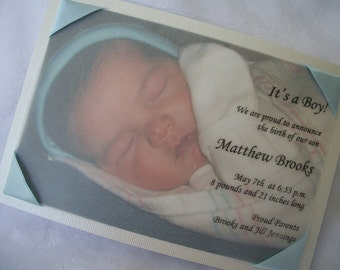 Photo Birth Announcement with Vellum Overlay for Boy or Girl