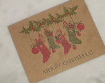 Set of 12 Recycled Christmas Postcards with Holly Garland and Stockings and Customized Message