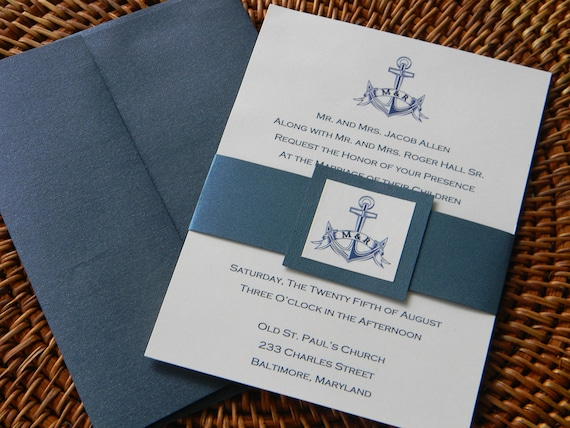 Nautical Wedding Invitation Suite with metallic envelopes and belly band Reserved for brandygardener