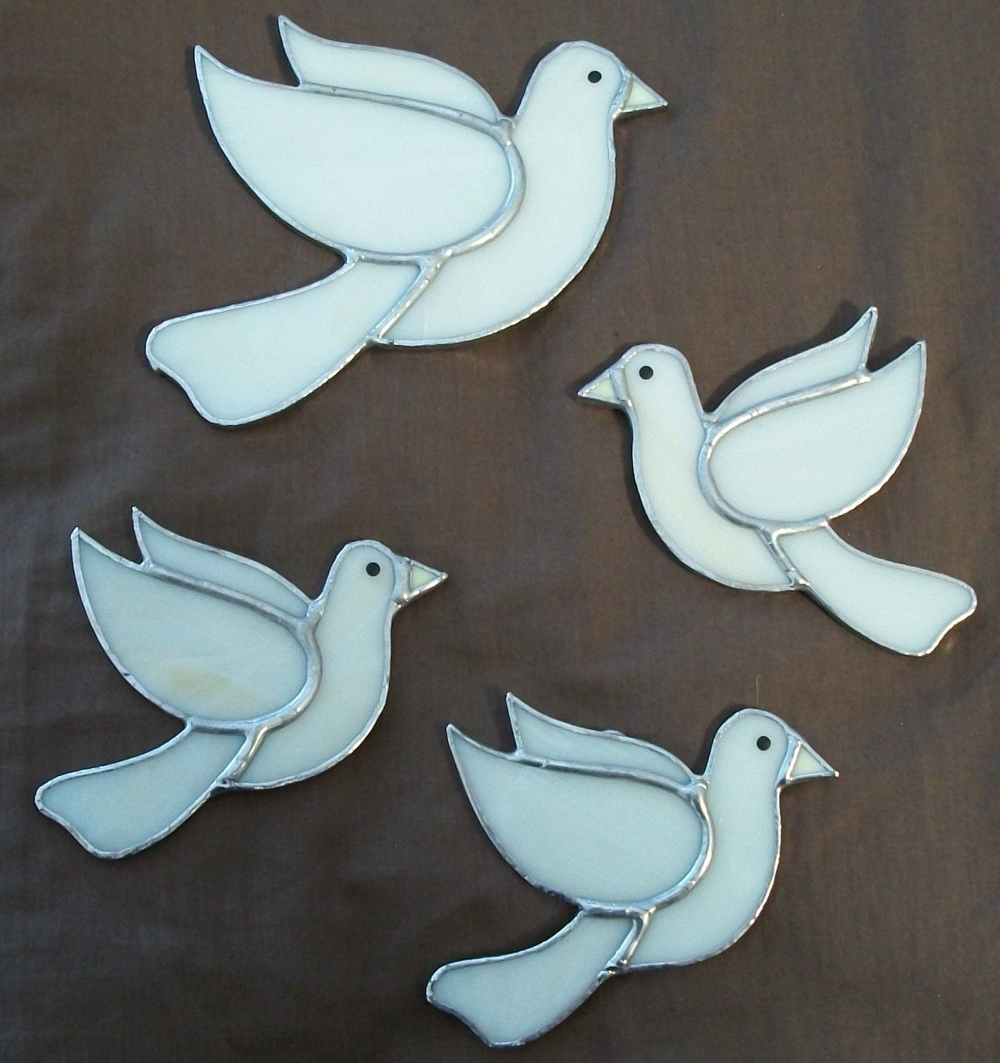 Christmas Tree Doves: White Dove Christmas Tree Stained Glass Ornament Set 4