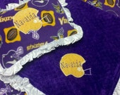 Personalized Minnesota Vikings Football Fleece and Minky Baby Blanket with applique