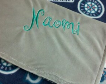Personalized Seattle Mariners Baseball Fleece and Minky Baby Blanket