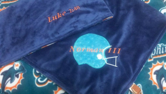 Personalized Miami Dolphins Football Fleece and Minky Baby Blanket with Football OR helemt applique