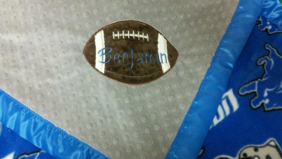 Personalized Detroit Lions Fleece and Minky Baby Blanketwith football applique