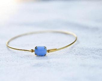 Set Stone Bangle, Light Blue, Stackable Bangle, Birthstone Bracelet, Gem Stone Bangle, Rhinestone Bangle, Bezel Bangle, Something Blue