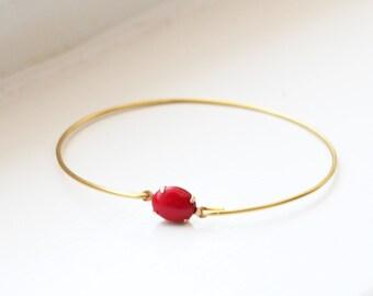 Vintage Red Set Stone Bangle, Stackable Bangle, Gem Stone Bangle, Rhinestone Bangle, Bezel Bangle, Stacked Bracelet, Colored Stone bracelet
