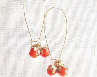 Orange Cluster Earrings, Fruit Earrings, Citrus Earrings, Bead Earrings