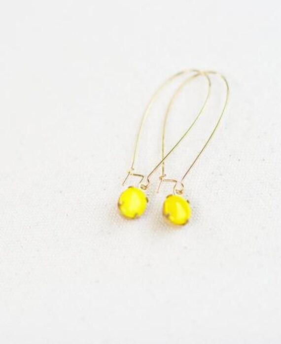 Vintage Yellow Glass Cabochon Earrings, Set Stone Earrings, Bezel Earrings, Colored Stone Earrings