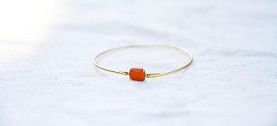 Vintage Orange Set Stone Bangle, Stackable Bangle, Gem Stone Bangle, Rhinestone Bangle, Bezel Bangle, Colored Stone Bracelet Orange bracelet