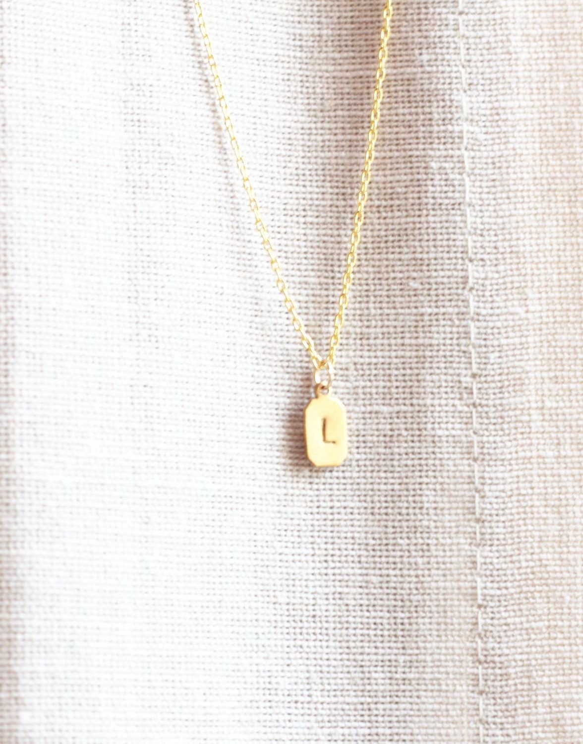 Initial Necklace, Tiny Brass Tag, Personalized Necklace, Custom Necklace, Monogram Necklace, Letter Necklace