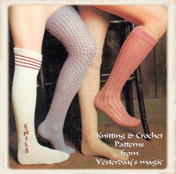 Instant Download PDF Vintage Seventies Crochet & Knitting Pattern to make Retro Over Knee Long Socks Lace Fish Net Stockings 4 Styles