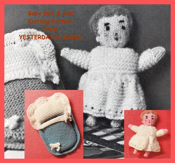 Knitting Patterns For Dolls Bedding : Instant Download PDF Vintage seventies Knitting by YesterdaysMagic