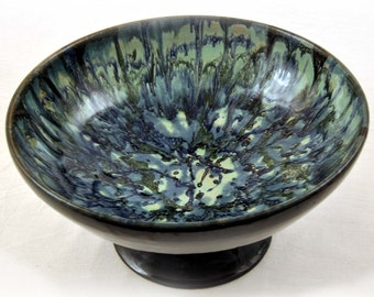 Beautiful Wheel Thrown Pottery Bowl with Pedestal