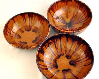 ON SALE Stunning Gold Pottery Bowl Set