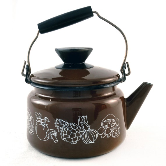 SAVE FOR JOEY little Enameled Chocolate Brown Teapot
