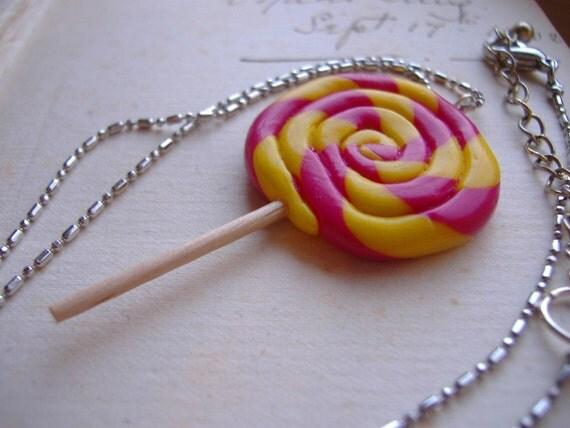 Rhubarb and Custard Lollipop Necklace