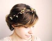woodland bridal hair piece, bridal crown - wallflower (yellow berries) - bridal hair accessory