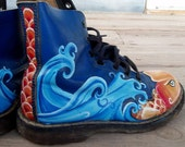 Very Koi painted blue Doc Martens
