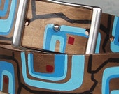 Hand painted leather belt with conway buckle - square one