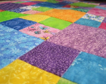 Doll Quilt Cornflower Blue & Deep Pink Flowers Butterflies - US Shipping Included