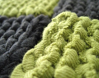 Square Coasters Knitted Olive Green Black Mug Rugs Mats Upcycled T Shirts Log Cabin Primitive Country (set of 4) -US Shipping Included