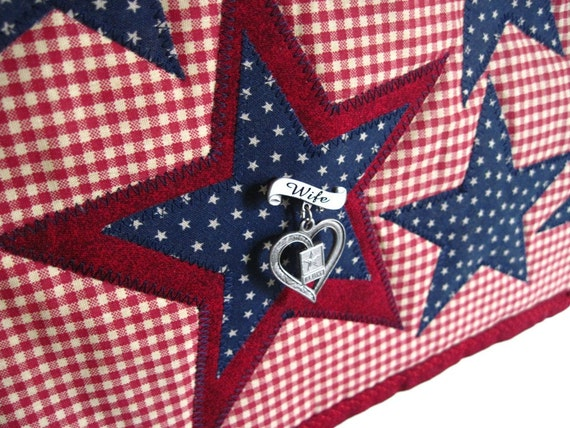 CUSTOM Americana Star Wall Hanging Army Wife Unit Pin Holder Red Cream Navy Home Decor Military Modern Country  --US Shipping Included