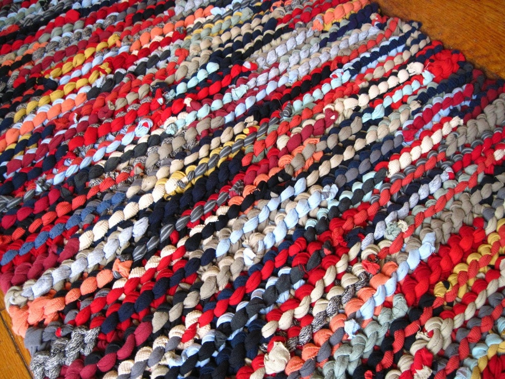 Upcycled T Shirt Rag Rug Navy Red Coral Tan Gray Rustic