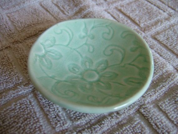 Lace Pattern Small, candle / soap / Jewelry Plate-Translucent Celadon