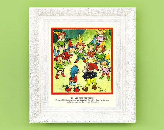 Noddy Print. Vintage Nursery Print 6x9 Illustration for Babys Bedroom. Enid Blyton British Book Plate
