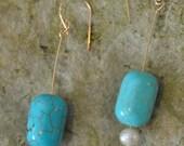 Turquoise Pearl 14K Gold Ladies Earrings