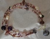 Beaded Semiprecious Amethyst Freshwater pearl,  Pink Bracelet
